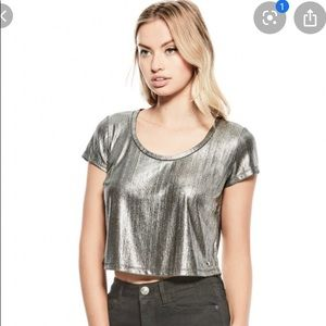 NWT Guess 'Tinsley' Crop Top Silver New Years 🎉